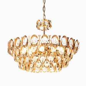 Lustre à Huit Lampes en Laiton Plaqué en Or et en Cristal de Palwa, 1960s