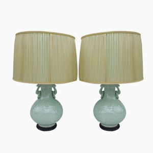 Celadon Porcelain Lamps with Bas Reliefs, Set of 2