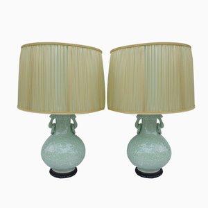 Lámparas de porcelana Celadon con bajorrelieves. Juego de 2