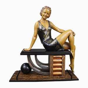 French Art Deco Spelter Figure by Enrique Molins-Balleste, 1920s