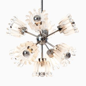 Sputnik Chrome & Pressed Glass Chandelier, 1960s