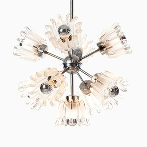Sputnik Chandelier in Chrome and Pressed Glass, 1960s