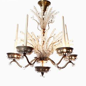 Lustre à 10 Lampes en Argent Plaqué en Laiton et en Cristal, 1920s