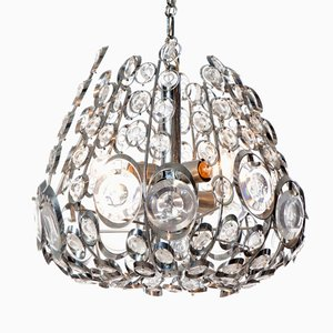 Vintage Six Light Chromed Steel and Glass Chandelier from Stilkrone