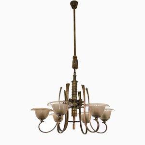 Lámpara de araña de cristal de Murano de vidrio soplado, años 30