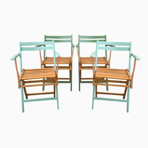 Art Nouveau Foldable Garden Chairs, 1910s, Set of 4