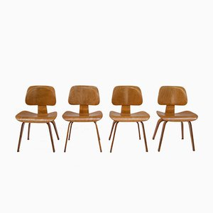 Vintage DCW Chairs by Charles & Ray Eames for Evans, Set of 4
