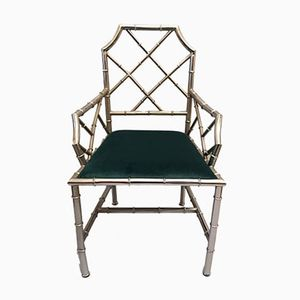 Mid-Century Faux Bamboo Chrome Armchair, 1960s