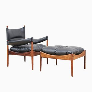 Mid-Century Danish Modern Lounge Sessel mit Fußhocker von Kristian Vedel für Soren Willadsen, 1963