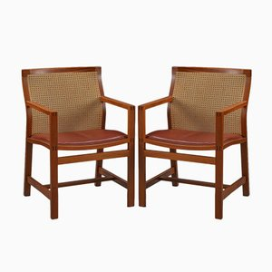 King Series Mahogany Armchairs by Rud Thygesen & Johnny Sørensen for Fredericia, 1980s, Set of 2