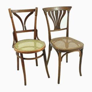 Sedie da bistrò antiche in legno curvato, set di 2