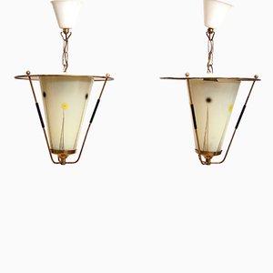 Lámparas colgantes Mid-Century con pantallas de vidrio. Juego de 2