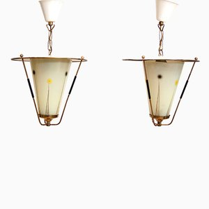 Mid-Century Pendant Lights with Glass Shades, Set of 2