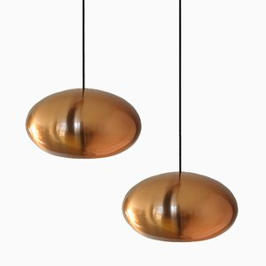 Medio Pendant Lamps in Copper by Jo Hammerborg for Fog & Morup, Set of 2