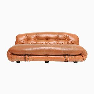 Soriana Cognac Leather Sofa by Tobia Scarpa for Cassina, 1970s