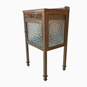 Spanish Art Deco Brass, Nickel, & Glass Side Table, 1930s