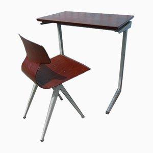 Scrivania industriale e sedia in compensato di Galvanitas, Paesi Bassi, anni '60