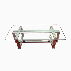 Spanish Chromed Steel & Brass Coffee Table, 1960s