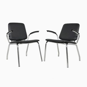 Mid-Century Tubular Chrome Armchairs from Gispen, Set of 2