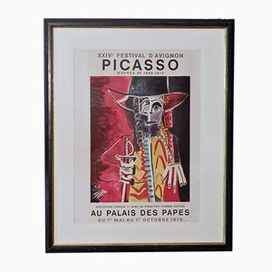 Vintage Hand-Signed Picasso Poster for Palais des Papes Exhibition, 1970
