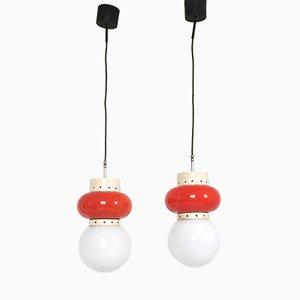 Lámparas colgantes italianas en naranja y blanca, años 60. Juego de 2