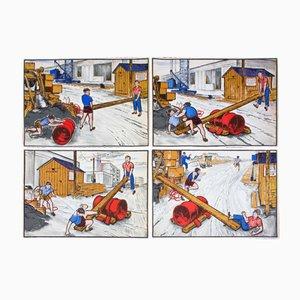 Póster con tira cómica de cuatro viñetas de Quirin Haslinger, 1953