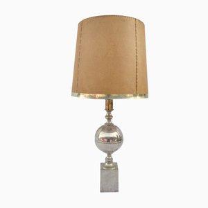 Lámpara de mesa de latón plateado, años 60