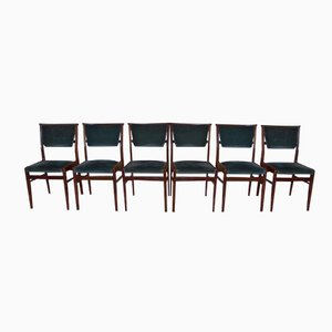 Teak Chairs with Green Fabric, 1960s, Set of 6