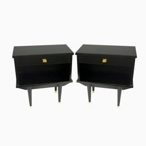 Night Stands in Black Lacquered Wood, 1950s, Set of 2