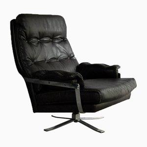 Dunkelbrauner Vintage Sessel aus Leder & Chrom von Arne Norell für Vatne
