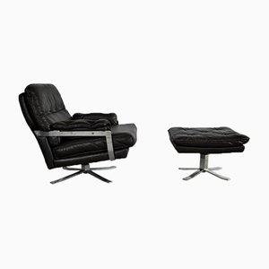 Dunkelbrauner Vintage Sessel aus Leder & Chrom mit Hocker von Arne Norell für Vatne