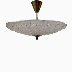 Vintage Floating Crystal & Brass Chandelier by Carl Fagerlund for Orrefors, 1950s