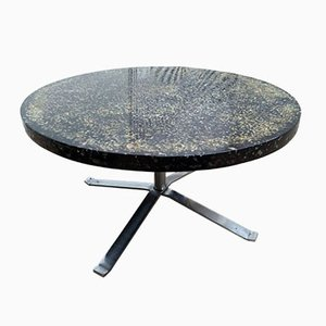 Round Black Resin Coffee Table by Pierre Giraudon, 1970s