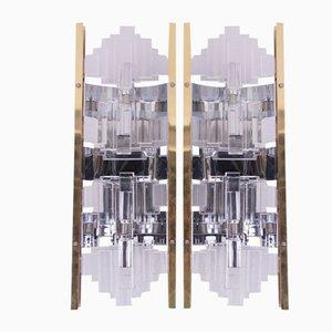 Apliques de vidrio y latón dorado, años 70. Juego de 2