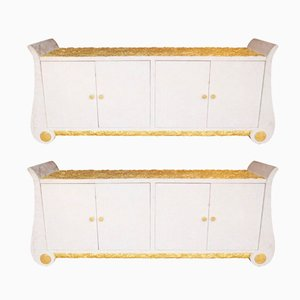 Vintage White Stone Sideboards, Set of 2