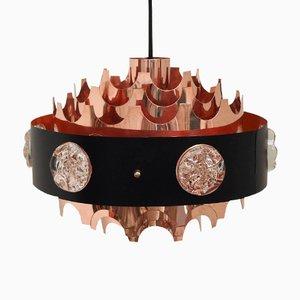 Lámpara colgante danesa vintage de cobre con incrustaciones de vidrio