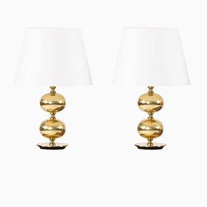 Lámparas de mesa de latón de Henrik Blomqvist para Tranås Stilarmatur, años 60. Juego de 2