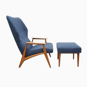 Blue Fabric & Cherry Armchair with Ottoman, 1960s