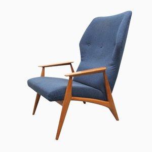 Butaca en azul de tela y cerezo, años 60