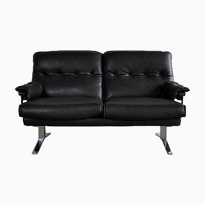 Vintage Leather and Chrome 2-Seater Sofa by Arne Norell for Vatne Møbler