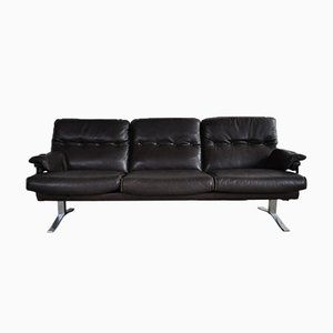 Vintage Leather and Chrome 3-Seater Sofa by Arne Norell for Vatne Møbler