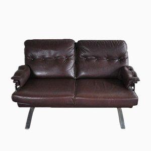 Canapé Vintage en Cuir et en Chrome par Arne Norell pour Vatne Møbler