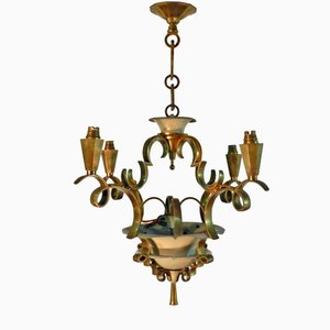 Lámpara colgante Art Déco de bronce dorado y metal lacado, años 30