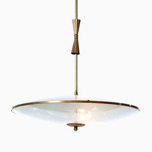 Lámpara colgante vintage con tres luces de latón y vidrio de Fontana Arte