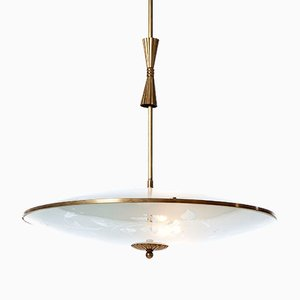 Vintage Three-Light Brass & Glass Pendant from Fontana Arte