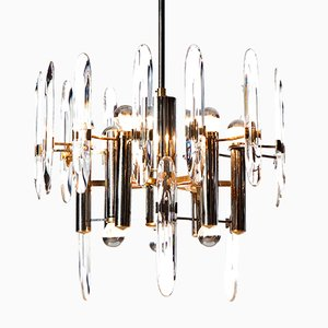 Mid-Century Nine-Light Chrome, Brass, & Crystal Glass Chandelier by Gaetano Sciolari