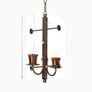 Lámpara colgante vintage con dos luces de vidrio y latón de Fontana Arte