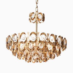 Mid-Century Kronleuchter aus Kristallglas & Vergoldetem Messing mit Sechs Leuchten von Palwa