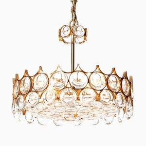Lámpara de araña Mid-Century de cristal tallado y latón dorado con cinco luces de Palwa