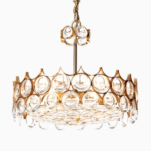 Mid-Century Five-Light Cut Crystal Glass & Gilt Brass Chandelier from Palwa